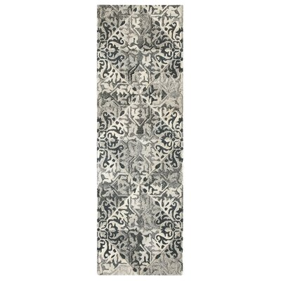 Stone Wall Hand-Tufted Black Area Rug Rug Size: Runner 26 x 8