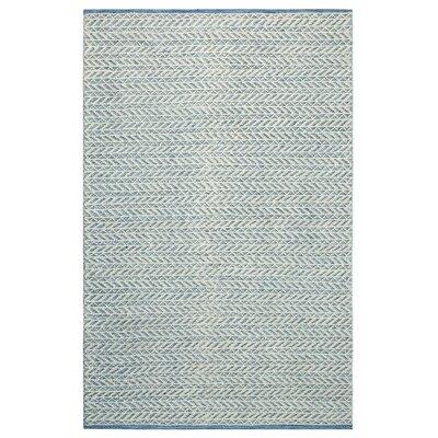 Herringbone Berber Hand-Woven Blue/White Area Rug Rug Size: Rectangle 5 x 8