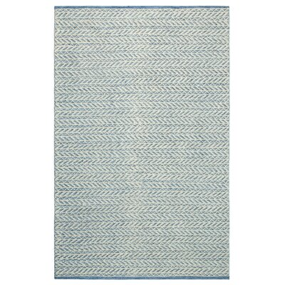 Herringbone Berber Hand-Woven Blue/White Area Rug Rug Size: Rectangle 3 x 5