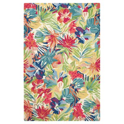 Hibiscus Hand-Tufted Red/Green Area Rug Rug Size: Rectangle 3 x 5