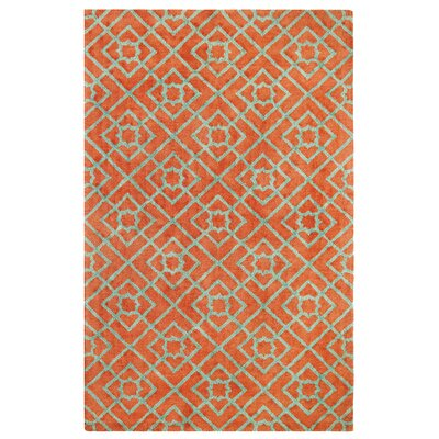 Diamond Lattice Hand-Tufted Orange Area Rug Rug Size: Rectangle 5 x 8