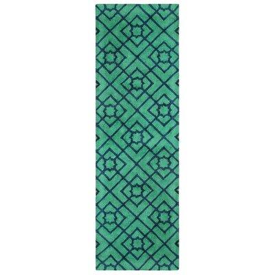 Diamond Lattice Hand-Tufted Green/Blue Area Rug Rug Size: Runner 26 x 8