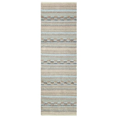 Sand Dune Hand-Woven Ivory/Light Blue Area Rug Rug Size: Runner 26 x 8