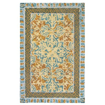 Tuscan Tile Hand-Tufted Blue/Beige Area Rug Rug Size: Rectangle 3 x 5