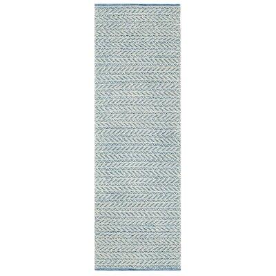 Herringbone Berber Hand-Woven Blue/White Area Rug Rug Size: Runner 26 x 8