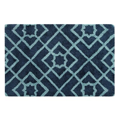Diamond Lattice Hand-Tufted Navy Area Rug Rug Size: Rectangle 2 x 3
