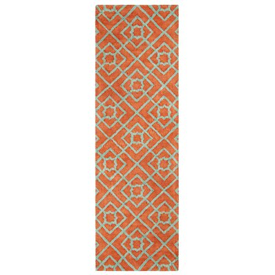 Diamond Lattice Hand-Tufted Orange Area Rug Rug Size: Runner 26 x 8