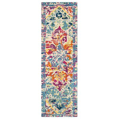 Rhapsody Hand-Tufted Pink/Blue Area Rug Rug Size: Runner 26 x 8