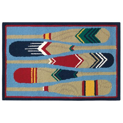 Paddles Hand Hooked Blue/Brown Indoor/Outdoor Area Rug