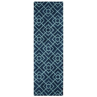 Diamond Lattice Hand-Tufted Navy Area Rug Rug Size: Runner 26 x 8