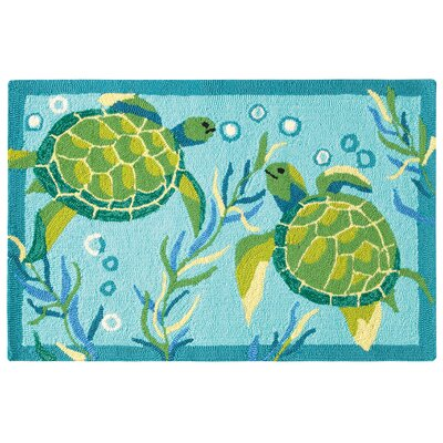 Turtle Bay Hand Hooked Turquoise/Green Indoor/Outdoor Area Rug