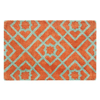Diamond Lattice Hand-Tufted Orange Area Rug Rug Size: Rectangle 2 x 3