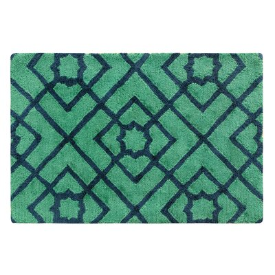 Diamond Lattice Hand-Tufted Green/Blue Area Rug Rug Size: Rectangle 2 x 3