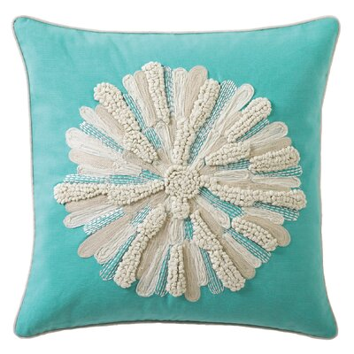 Asters 100% Cotton Throw Pillow Color: Aqua