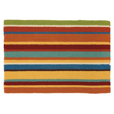 Cabana Stripe Orange Indoor/Outdoor Area Rug Rug Size: 36 x 56