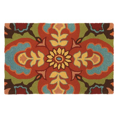 Talavera Tile Chocolate Area Rug Rug Size: 36 x 56