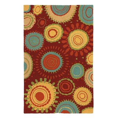 Sundew Crimson Indoor/Outdoor Area Rug Rug Size: 5 x 8