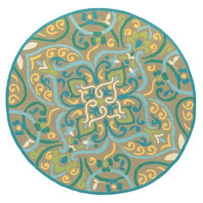 Morocco Aqua Indoor/Outdoor Area Rug Rug Size: Round 5