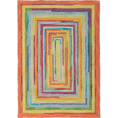 Concentric Orange/Green Area Rug Rug Size: 4 x 6