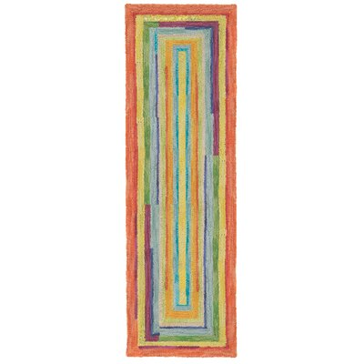 Concentric Orange/Green Area Rug Rug Size: Runner 26 x 8