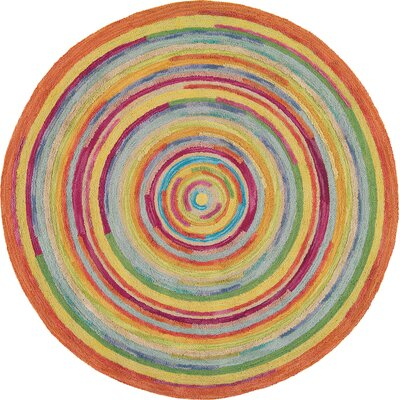 Concentric Orange/Green Area Rug Rug Size: Round 9