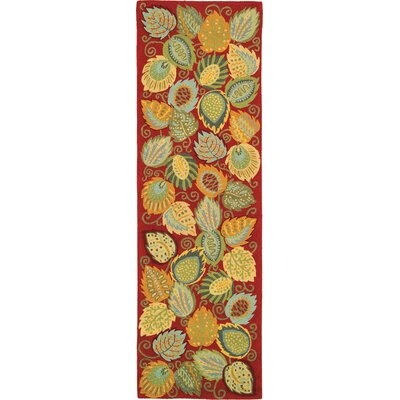 Foliage Red Area Rug Rug Size: Runner 26 x 8