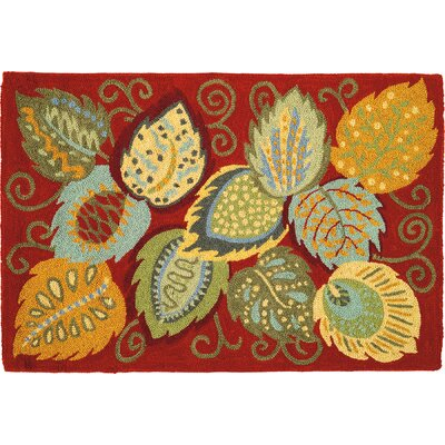 Foliage Red Area Rug Rug Size: Rectangle 2 x 3