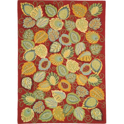 Foliage Red Area Rug Rug Size: 46 x 66