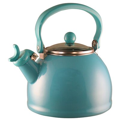 Hippolyte 2.2 Qt. Whistling Stove Tea Kettle Color: Turquoise