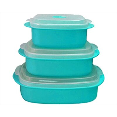 Calypso Basics Microwave Steamer Set In Turquoise (set Of 2)