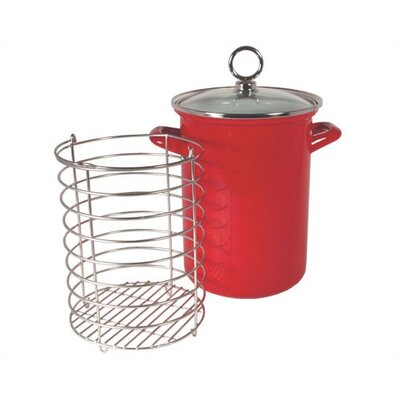 Calypso Basics Asparagus Pot With Glass Lid In Red With Optional Counter/stove Mat