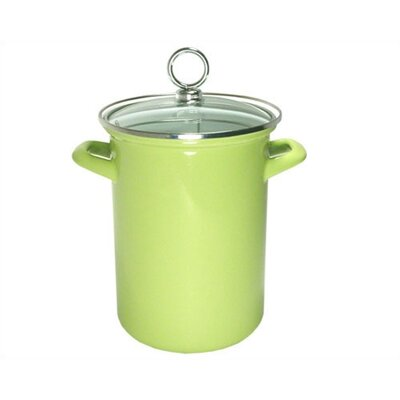 Calypso Basics Asparagus Pot With Glass Lid In Lime With Optional Counter/stove Mat