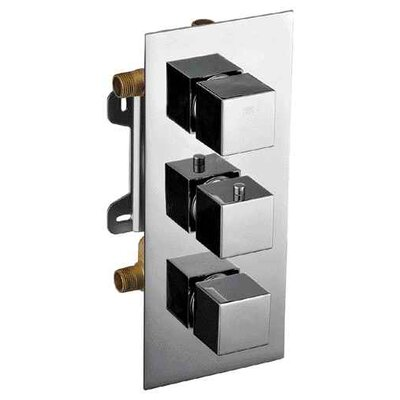 Concealed 3 Way Thermostatic Valve Shower Mixer Finish: Polished Chrome