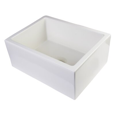 24 x 18 Smooth Thick Wall Fireclay Single Bowl Farmhouse Kitchen Sink Finish: Biscuit