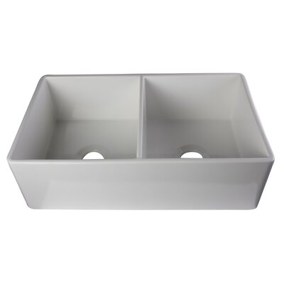 32.75 x 19.88 Smooth Double Bowl Farmhouse Kitchen Sink Finish: White