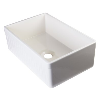 29.88 x 19.75 Single Bowl Fluted Farmhouse Kitchen Sink Finish: Biscuit