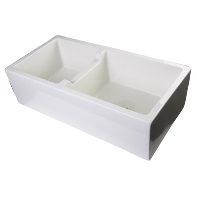 Jamila 36 x 18 Smooth Thick Wall Fireclay Double Bowl Farmhouse Kitchen Sink Finish: Biscuit