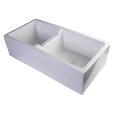 Jamila 36 x 18 Smooth Thick Wall Fireclay Double Bowl Farmhouse Kitchen Sink Finish: White
