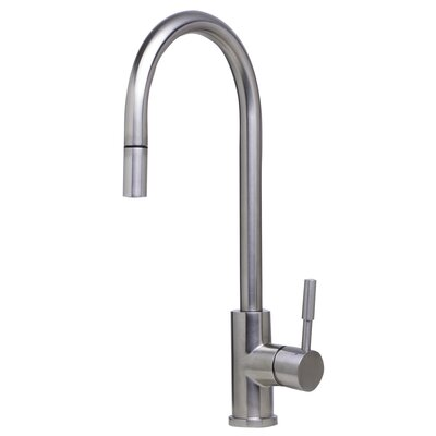 Single Handle Deck Mount Pull Down Kitchen Faucet Finish: Brushed Stainless Steel