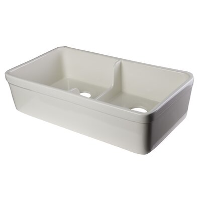 31.75 x 17.75 Short Wall Double Bowl Farmhouse Kitchen Sink Finish: Biscuit