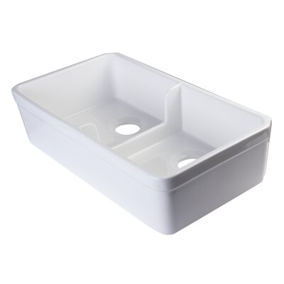 31.75 x 17.75 Short Wall Double Bowl Farmhouse Kitchen Sink Finish: White