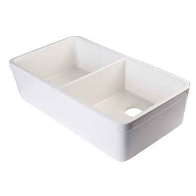 32 x 17.75 Double Bowl Farmhouse Kitchen Sink Finish: Biscuit