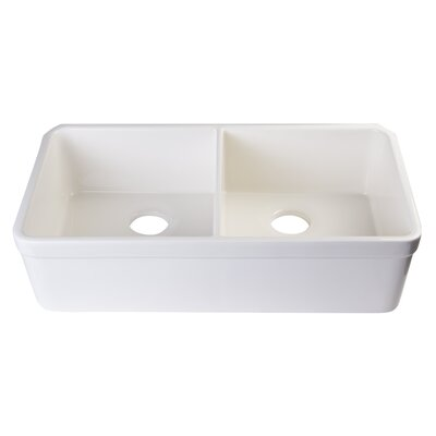 32 x 18 Double Basin Undermount Kitchen Sink Finish: Biscuit