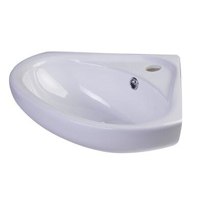 Porcelain Metal 19 Corner Bathroom Sink with Overflow