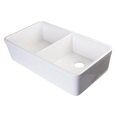 32 x 17.75 Double Bowl Farmhouse Kitchen Sink Finish: White
