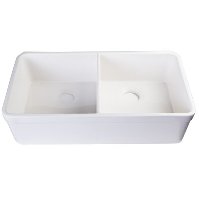 32 x 18 Double Basin Undermount Kitchen Sink Finish: White
