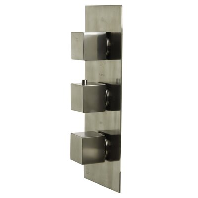 Concealed 4-Way Thermostatic Valve Shower  Mixer with Square Knobs Finish: Brushed Nickel