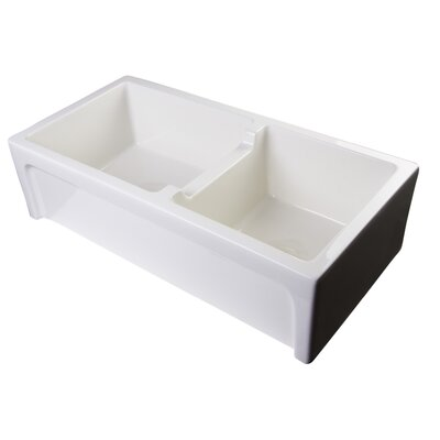 36 x 18 Arched Apron Thick Wall Fireclay Double Bowl Farmhosue Kitchen Sink Finish: Biscuit
