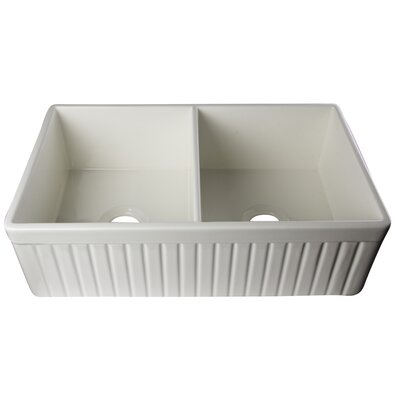 32.75 x 19.88 Double Bowl Fluted Farmhouse Kitchen Sink Finish: Biscuit