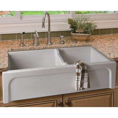 36 x 18 Arched Apron Thick Wall Fireclay Double Bowl Farmhosue Kitchen Sink Finish: White